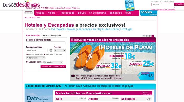 web de viajes