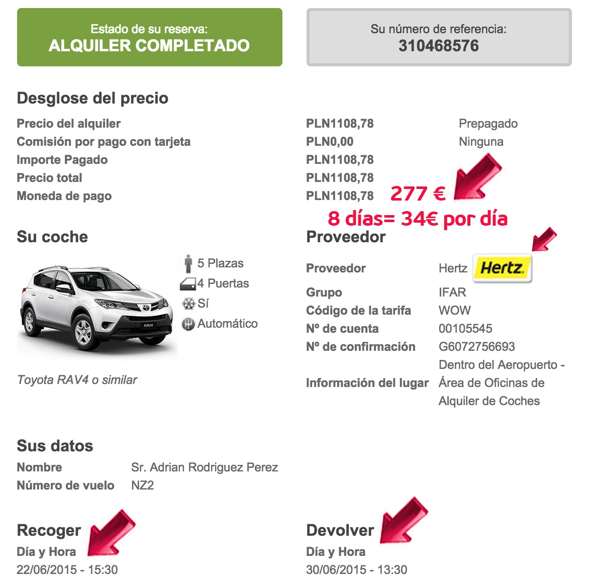 alquiler coches usa