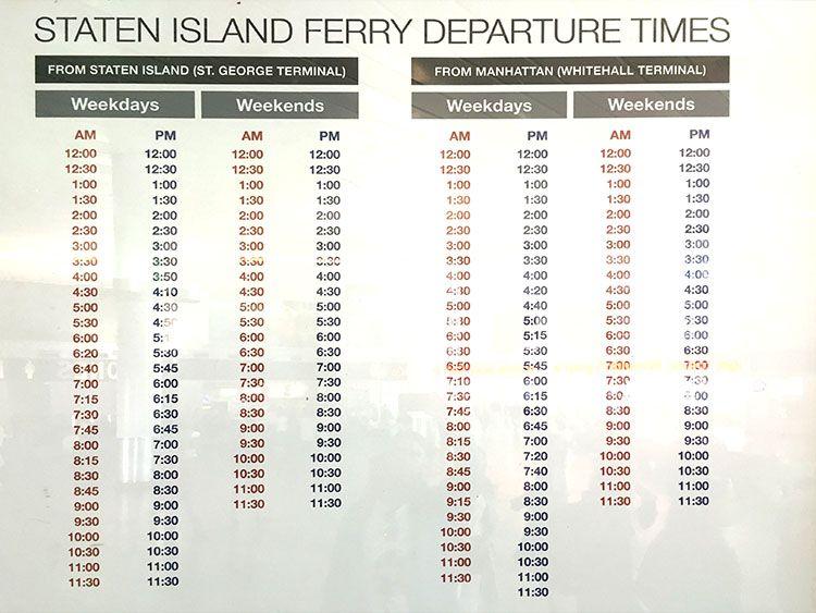 Horarios Staten Island ferry Nueva York